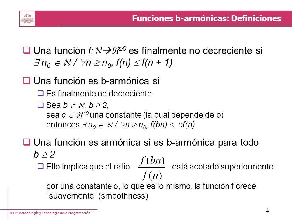 MTP: Metodología y Tecnología de la Programación 5 Funciones b-armónicas: Definiciones Un resultado interesante es que toda función b- armónica, para un b 2, es efectivamente armónica Ello permite derivar el resultado siguiente: sea f: 0 una función armónica sea t: 0 una función finalmente no decreciente sea b 2 entonces [ (n = b k ) t(n) (f(n)) ] t(n) (f(n))