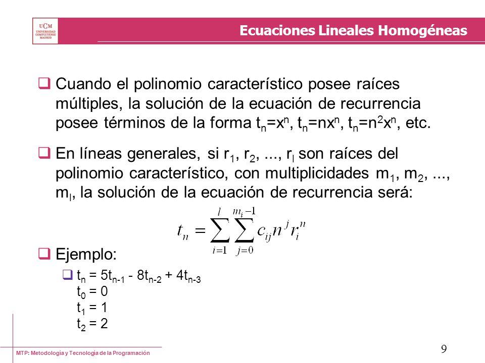 MTP: Metodología y Tecnología de la Programación 9 Ecuaciones Lineales Homogéneas Cuando el polinomio característico posee raíces múltiples, la soluci