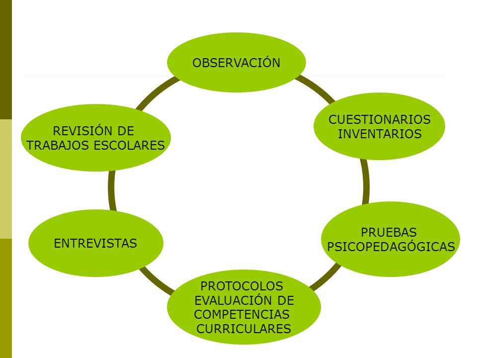 OBSERVACIÓN CUESTIONARIOS INVENTARIOS PROTOCOLOS EVALUACIÓN DE COMPETENCIAS CURRICULARES PRUEBAS PSICOPEDAGÓGICAS ENTREVISTAS REVISIÓN DE TRABAJOS ESCOLARES