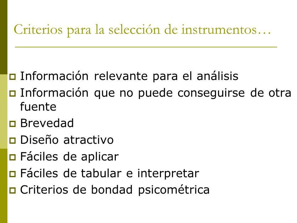 Criterios para la selección de instrumentos… Información relevante para el análisis Información que no puede conseguirse de otra fuente Brevedad Diseño atractivo Fáciles de aplicar Fáciles de tabular e interpretar Criterios de bondad psicométrica
