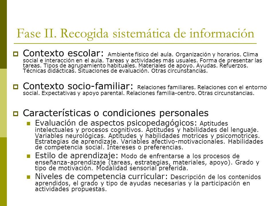 Fase II.Recogida sistemática de información Contexto escolar: Ambiente físico del aula.