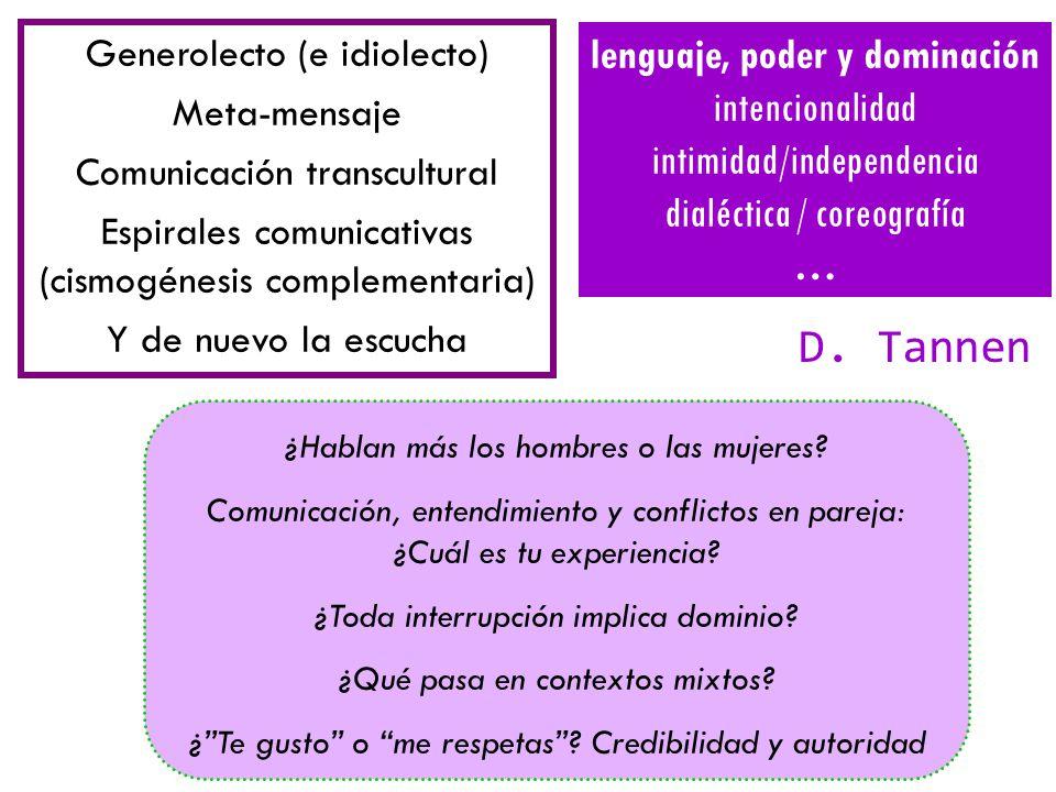 Generolecto (e idiolecto) Meta-mensaje Comunicación transcultural Espirales comunicativas (cismogénesis complementaria) Y de nuevo la escucha ¿Hablan más los hombres o las mujeres.