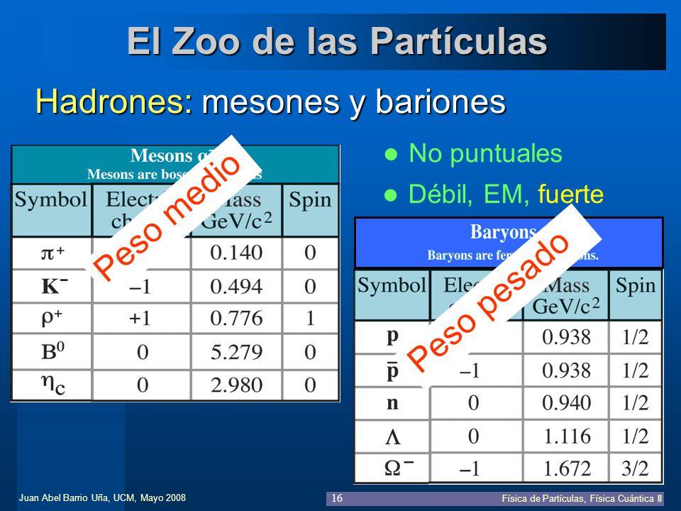 Juan Abel Barrio Uña, UCM, Mayo 2008 Física de Partículas, Física Cuántica II 16 El Zoo de las Partículas Hadrones: mesones y bariones No puntuales Dé