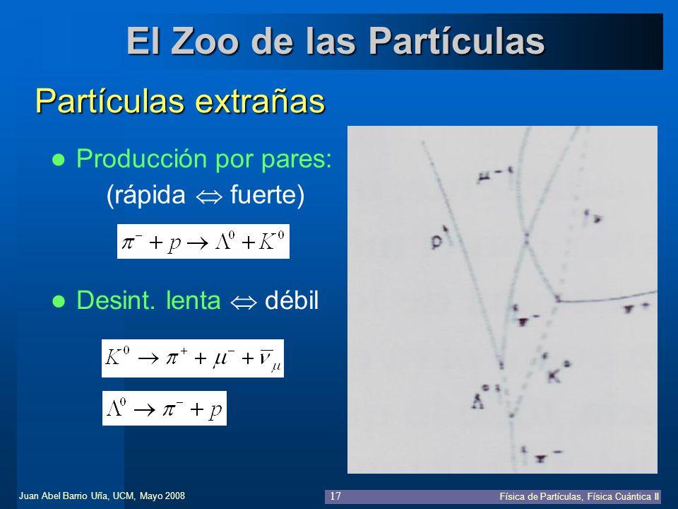 Juan Abel Barrio Uña, UCM, Mayo 2008 Física de Partículas, Física Cuántica II 17 El Zoo de las Partículas Partículas extrañas Producción por pares: (r