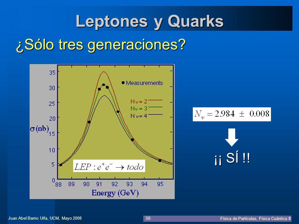 Juan Abel Barrio Uña, UCM, Mayo 2008 Física de Partículas, Física Cuántica II 30 Leptones y Quarks ¿Sólo tres generaciones? ¡¡ SÍ !!