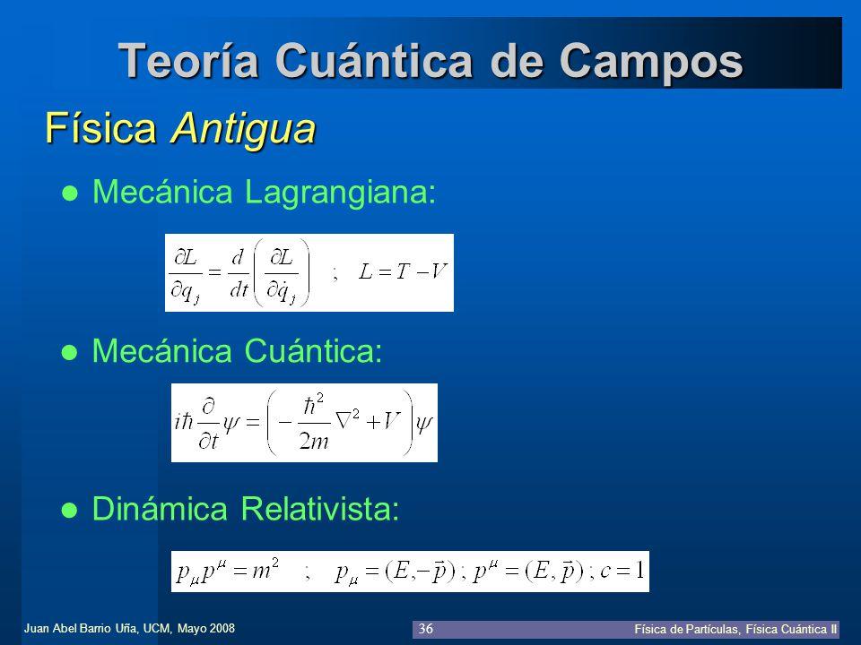 Juan Abel Barrio Uña, UCM, Mayo 2008 Física de Partículas, Física Cuántica II 36 Teoría Cuántica de Campos Física Antigua Mecánica Lagrangiana: Dinámi
