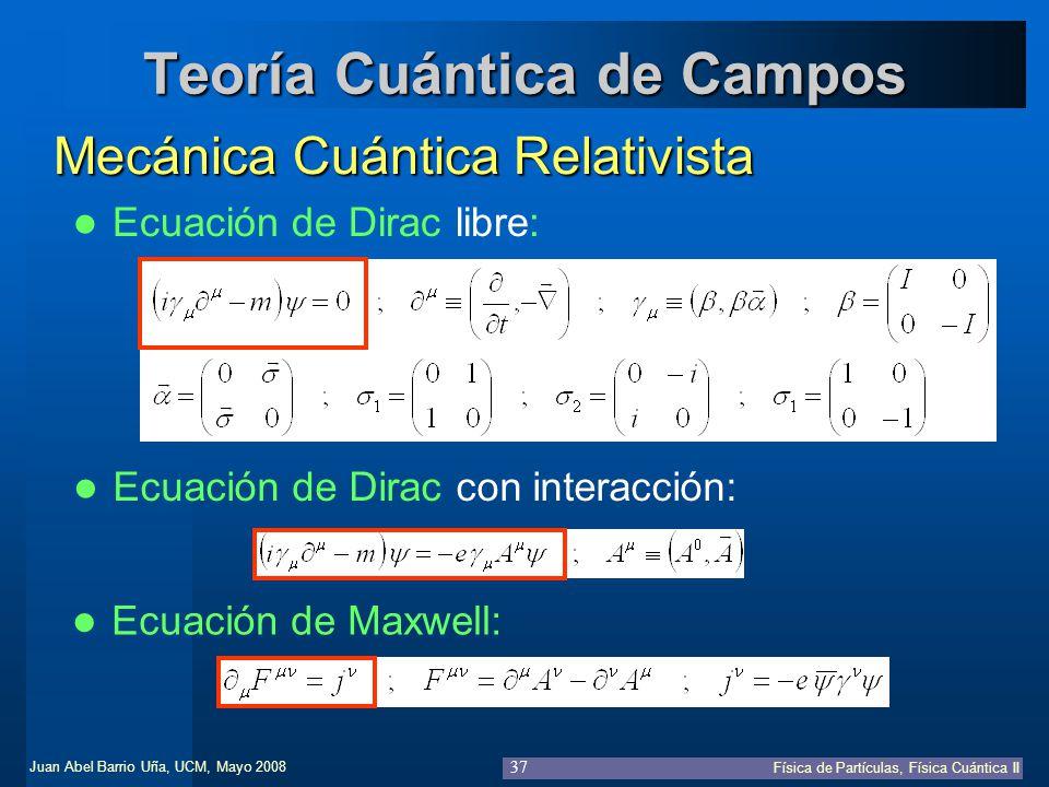 Juan Abel Barrio Uña, UCM, Mayo 2008 Física de Partículas, Física Cuántica II 37 Teoría Cuántica de Campos Mecánica Cuántica Relativista Ecuación de D