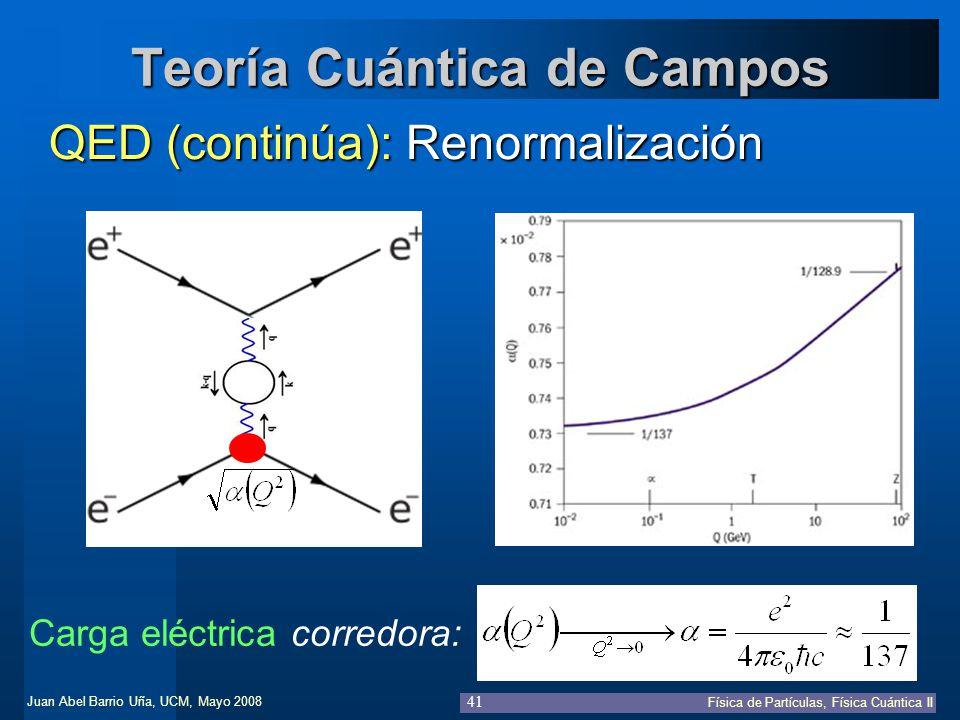 Juan Abel Barrio Uña, UCM, Mayo 2008 Física de Partículas, Física Cuántica II 41 Teoría Cuántica de Campos QED (continúa): Renormalización Carga eléct