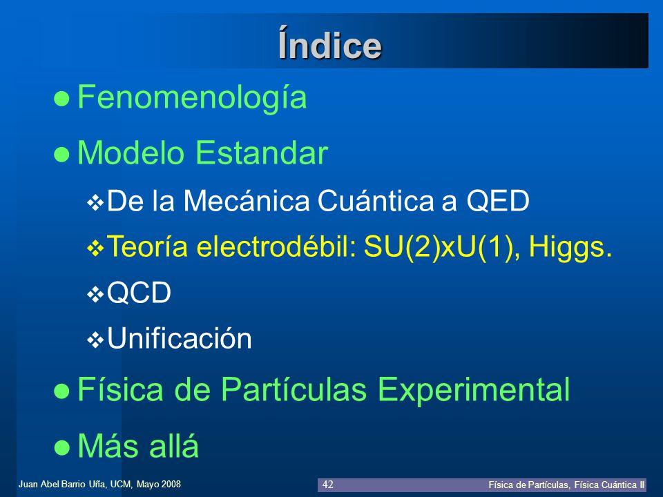 Juan Abel Barrio Uña, UCM, Mayo 2008 Física de Partículas, Física Cuántica II 42 Fenomenología Física de Partículas Experimental Índice Modelo Estanda