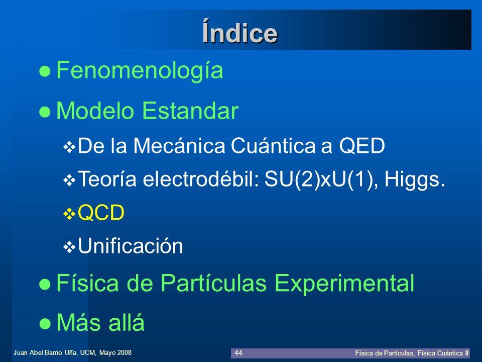Juan Abel Barrio Uña, UCM, Mayo 2008 Física de Partículas, Física Cuántica II 44 Fenomenología Física de Partículas Experimental Índice Modelo Estanda