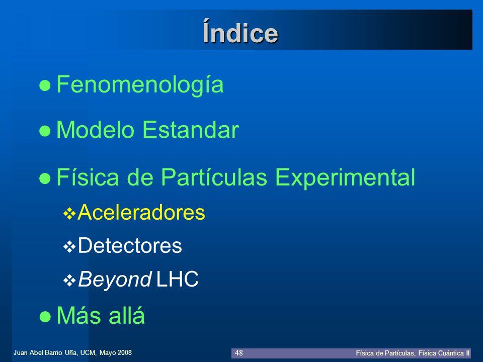 Juan Abel Barrio Uña, UCM, Mayo 2008 Física de Partículas, Física Cuántica II 48 Fenomenología Modelo Estandar Índice Física de Partículas Experimenta