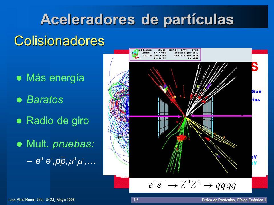 Juan Abel Barrio Uña, UCM, Mayo 2008 Física de Partículas, Física Cuántica II 49 Aceleradores de partículas Colisionadores Baratos Mult. pruebas: –e +