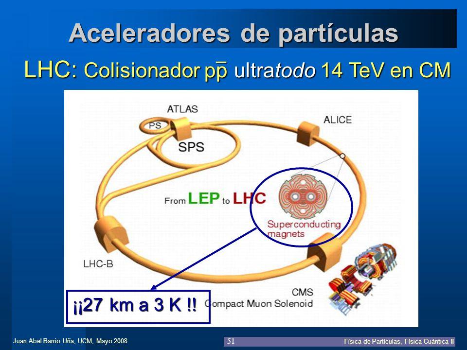 Juan Abel Barrio Uña, UCM, Mayo 2008 Física de Partículas, Física Cuántica II 51 Aceleradores de partículas LHC: Colisionador pp ultratodo 14 TeV en C