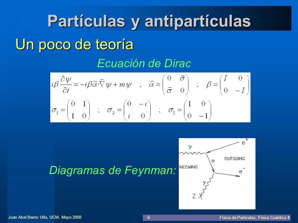 Juan Abel Barrio Uña, UCM, Mayo 2008 Física de Partículas, Física Cuántica II 37 Teoría Cuántica de Campos Mecánica Cuántica Relativista Ecuación de Dirac libre: Ecuación de Maxwell: Ecuación de Dirac con interacción: