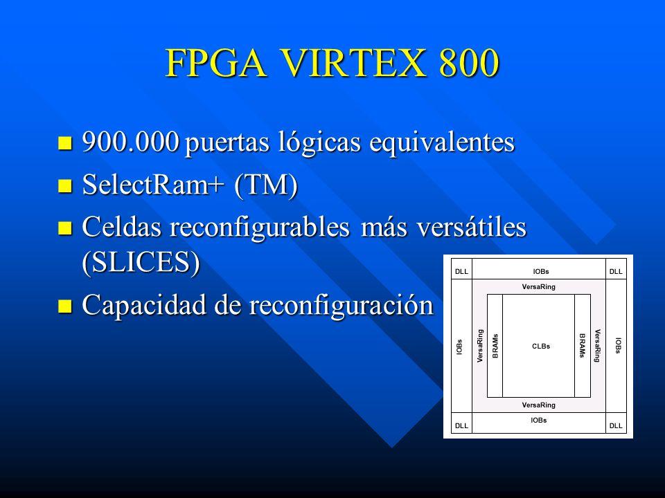 FPGA VIRTEX 800 900.000 puertas lógicas equivalentes 900.000 puertas lógicas equivalentes SelectRam+ (TM) SelectRam+ (TM) Celdas reconfigurables más versátiles (SLICES) Celdas reconfigurables más versátiles (SLICES) Capacidad de reconfiguración Capacidad de reconfiguración