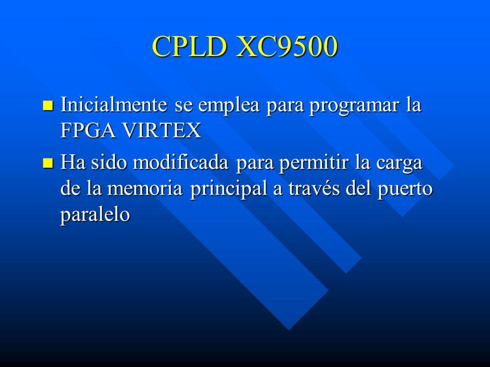 CPLD XC9500 Inicialmente se emplea para programar la FPGA VIRTEX Inicialmente se emplea para programar la FPGA VIRTEX Ha sido modificada para permitir la carga de la memoria principal a través del puerto paralelo Ha sido modificada para permitir la carga de la memoria principal a través del puerto paralelo