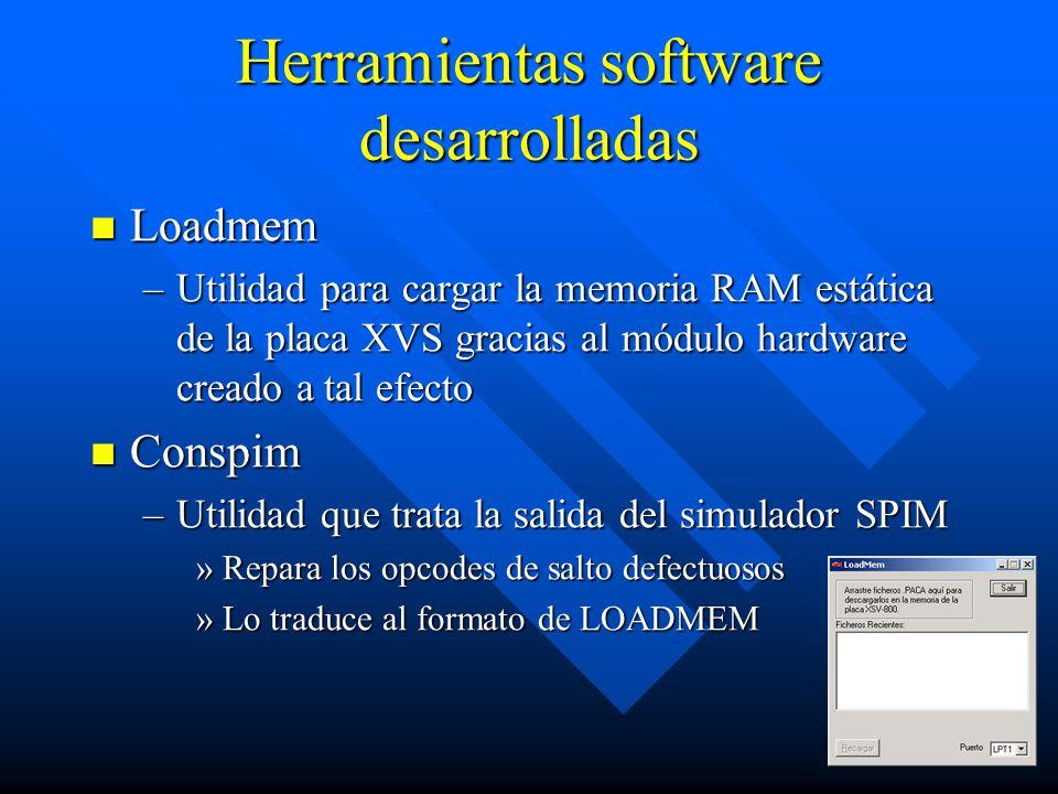 Herramientas software desarrolladas Loadmem Loadmem –Utilidad para cargar la memoria RAM estática de la placa XVS gracias al módulo hardware creado a tal efecto Conspim Conspim –Utilidad que trata la salida del simulador SPIM »Repara los opcodes de salto defectuosos »Lo traduce al formato de LOADMEM