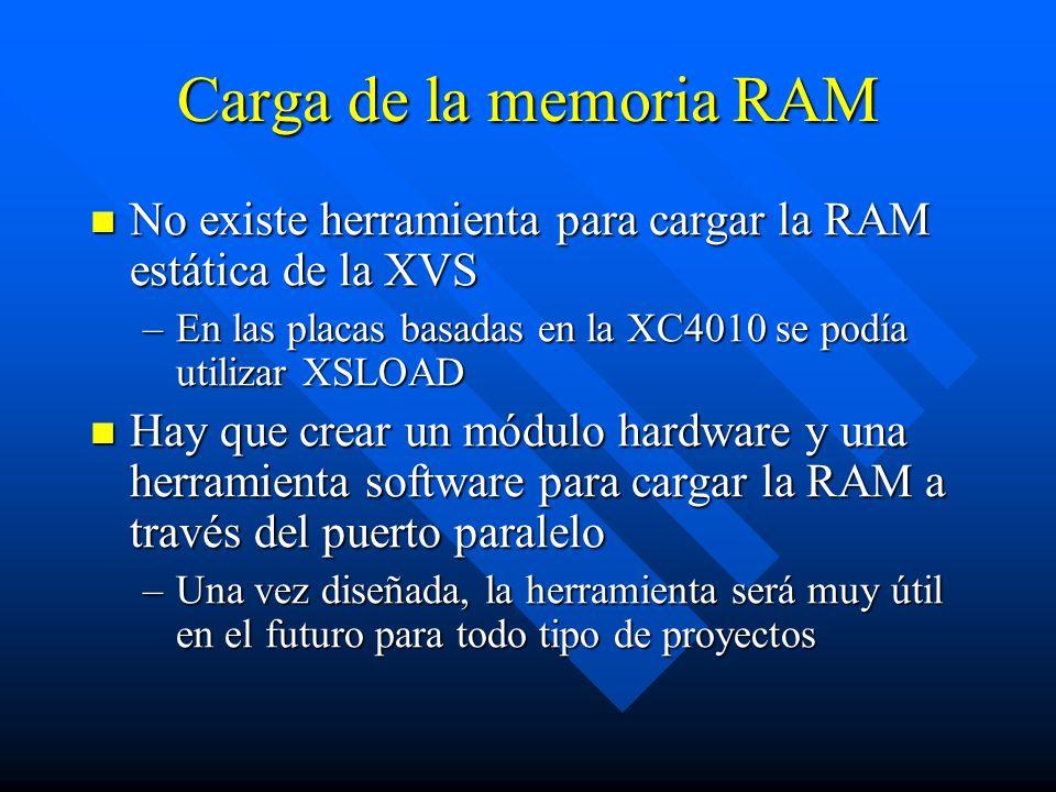 Carga de la memoria RAM No existe herramienta para cargar la RAM estática de la XVS No existe herramienta para cargar la RAM estática de la XVS –En las placas basadas en la XC4010 se podía utilizar XSLOAD Hay que crear un módulo hardware y una herramienta software para cargar la RAM a través del puerto paralelo Hay que crear un módulo hardware y una herramienta software para cargar la RAM a través del puerto paralelo –Una vez diseñada, la herramienta será muy útil en el futuro para todo tipo de proyectos