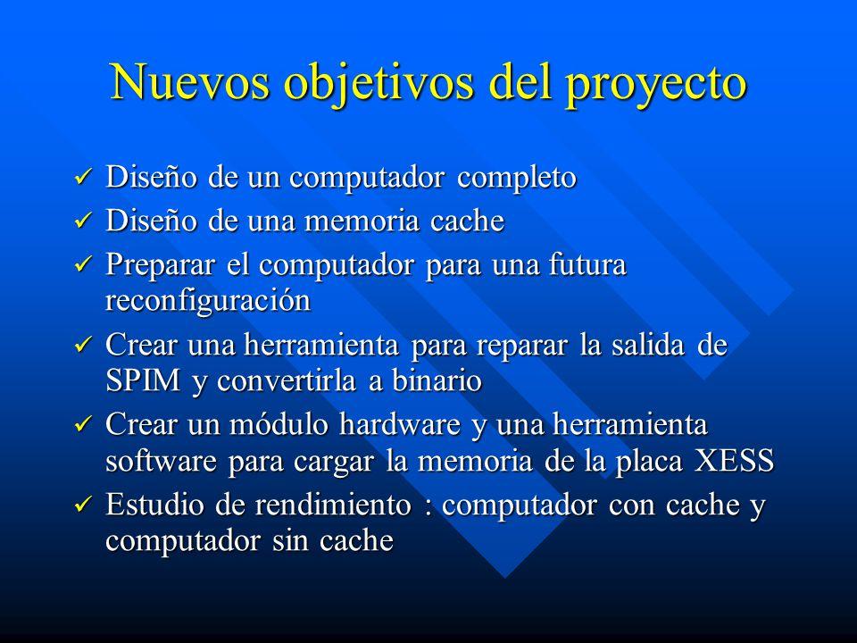 Estudio comparativo Se trata de realizar pruebas en un computador con una cache nula (siempre falla) y la cache de emplazamiento directo Se trata de realizar pruebas en un computador con una cache nula (siempre falla) y la cache de emplazamiento directo Se ejecutan los mismos programas en ambas situaciones Se ejecutan los mismos programas en ambas situaciones Los programas se crean con el compilador cruzado de ANSI C++ para MIPS R2000 LCC Los programas se crean con el compilador cruzado de ANSI C++ para MIPS R2000 LCC