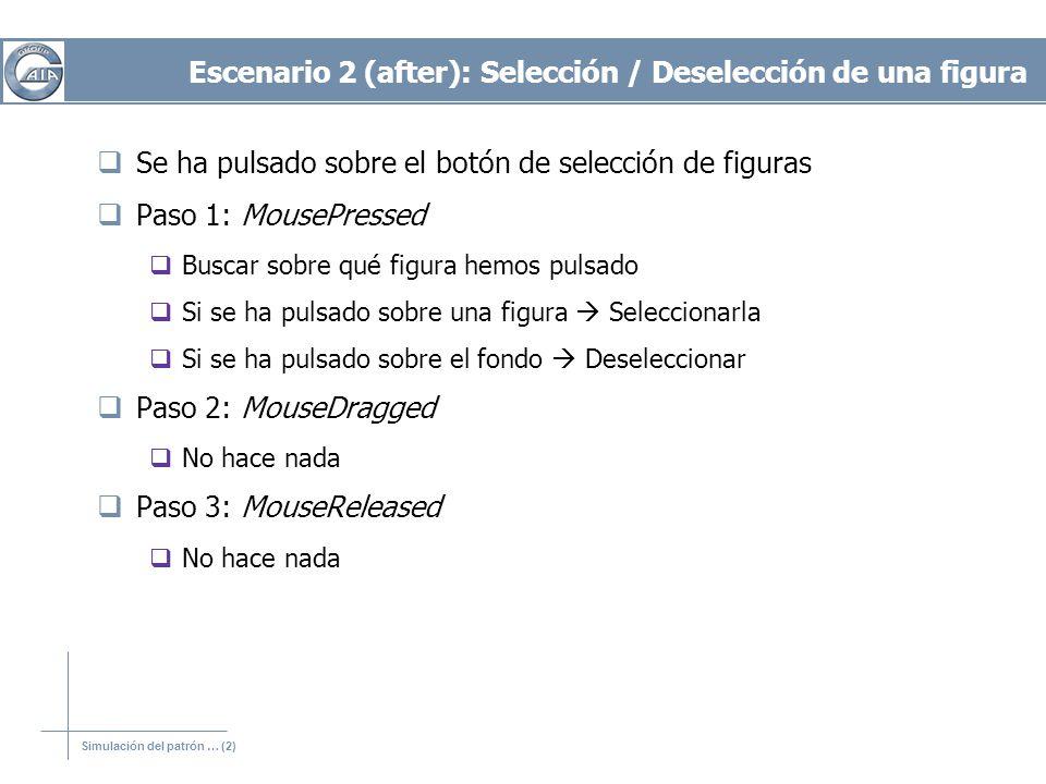 Simulación del patrón … (2) Escenario 2 (after): Selección / Deselección de una figura Se ha pulsado sobre el botón de selección de figuras Paso 1: Mo