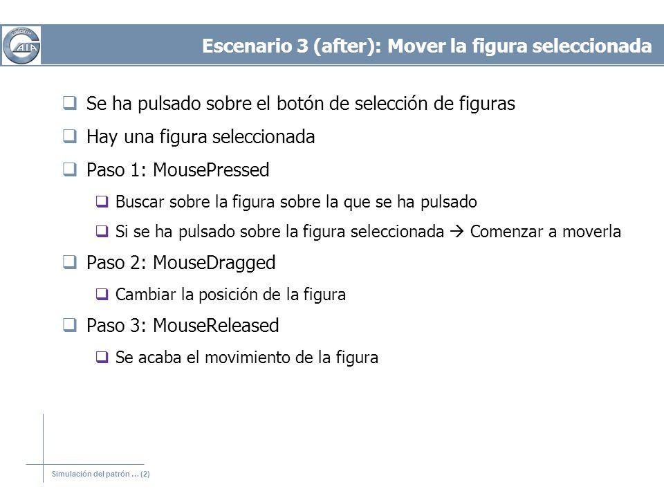 Simulación del patrón … (2) Escenario 3 (after): Mover la figura seleccionada Se ha pulsado sobre el botón de selección de figuras Hay una figura sele