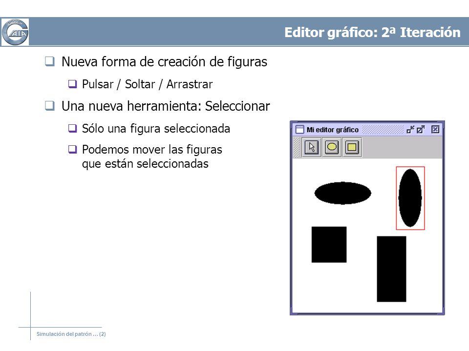 Editor gráfico: 2ª Iteración Nueva forma de creación de figuras Pulsar / Soltar / Arrastrar Una nueva herramienta: Seleccionar Sólo una figura seleccionada Podemos mover las figuras que están seleccionadas