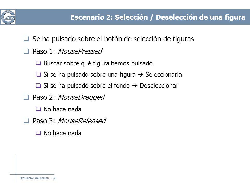 Simulación del patrón … (2) Escenario 2: Selección / Deselección de una figura Se ha pulsado sobre el botón de selección de figuras Paso 1: MousePress
