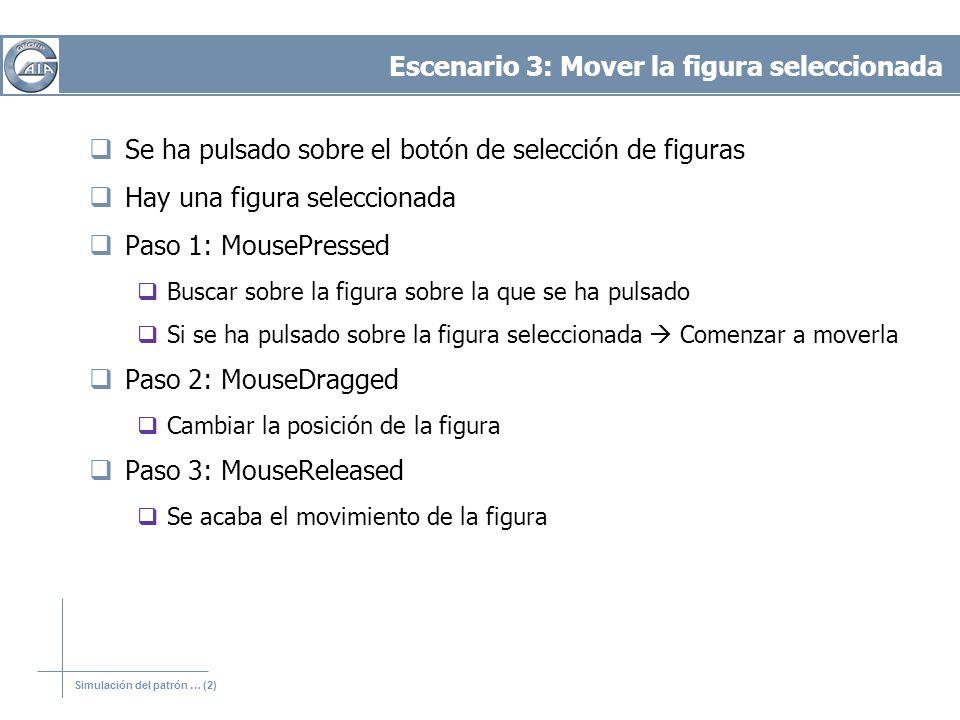 Simulación del patrón … (2) Escenario 3: Mover la figura seleccionada Se ha pulsado sobre el botón de selección de figuras Hay una figura seleccionada Paso 1: MousePressed Buscar sobre la figura sobre la que se ha pulsado Si se ha pulsado sobre la figura seleccionada Comenzar a moverla Paso 2: MouseDragged Cambiar la posición de la figura Paso 3: MouseReleased Se acaba el movimiento de la figura