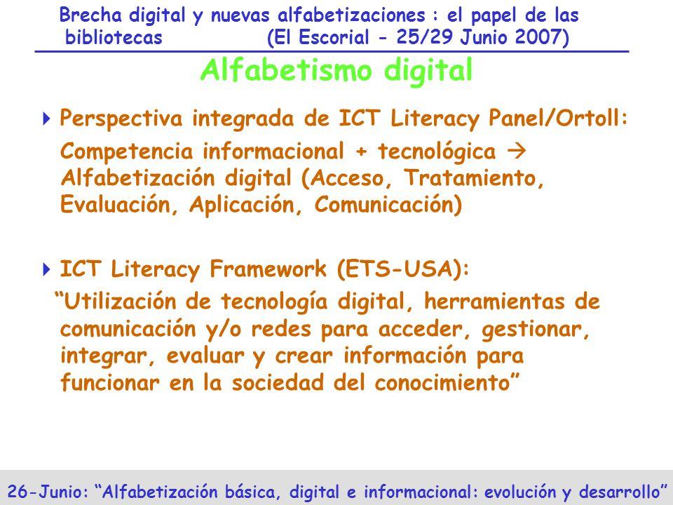 Brecha digital y nuevas alfabetizaciones : el papel de las bibliotecas (El Escorial - 25/29 Junio 2007) 26-Junio: Alfabetización básica, digital e informacional: evolución y desarrollo Alfabetismo digital Perspectiva integrada de ICT Literacy Panel/Ortoll: Competencia informacional + tecnológica Alfabetización digital (Acceso, Tratamiento, Evaluación, Aplicación, Comunicación) ICT Literacy Framework (ETS-USA): Utilización de tecnología digital, herramientas de comunicación y/o redes para acceder, gestionar, integrar, evaluar y crear información para funcionar en la sociedad del conocimiento