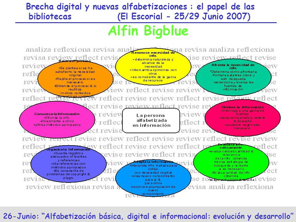 Brecha digital y nuevas alfabetizaciones : el papel de las bibliotecas (El Escorial - 25/29 Junio 2007) 26-Junio: Alfabetización básica, digital e informacional: evolución y desarrollo Alfin Bigblue