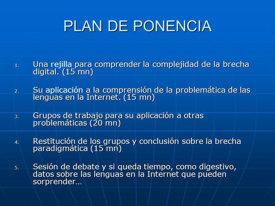PLAN DE PONENCIA 1. Una para comprender la complejidad de la brecha digital.
