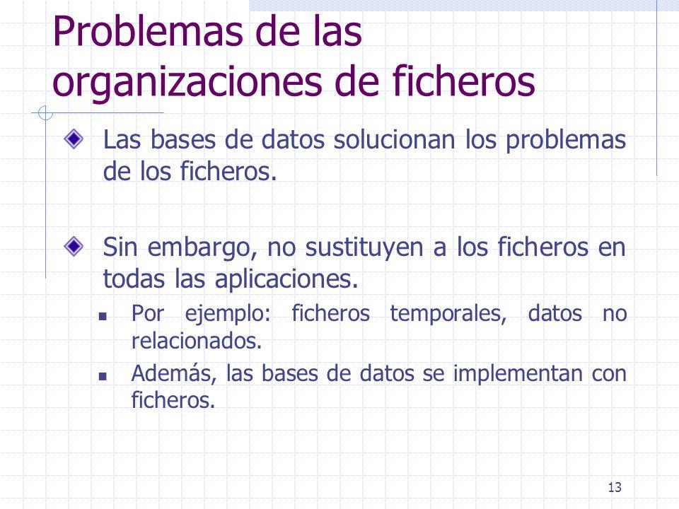 13 Problemas de las organizaciones de ficheros Las bases de datos solucionan los problemas de los ficheros. Sin embargo, no sustituyen a los ficheros