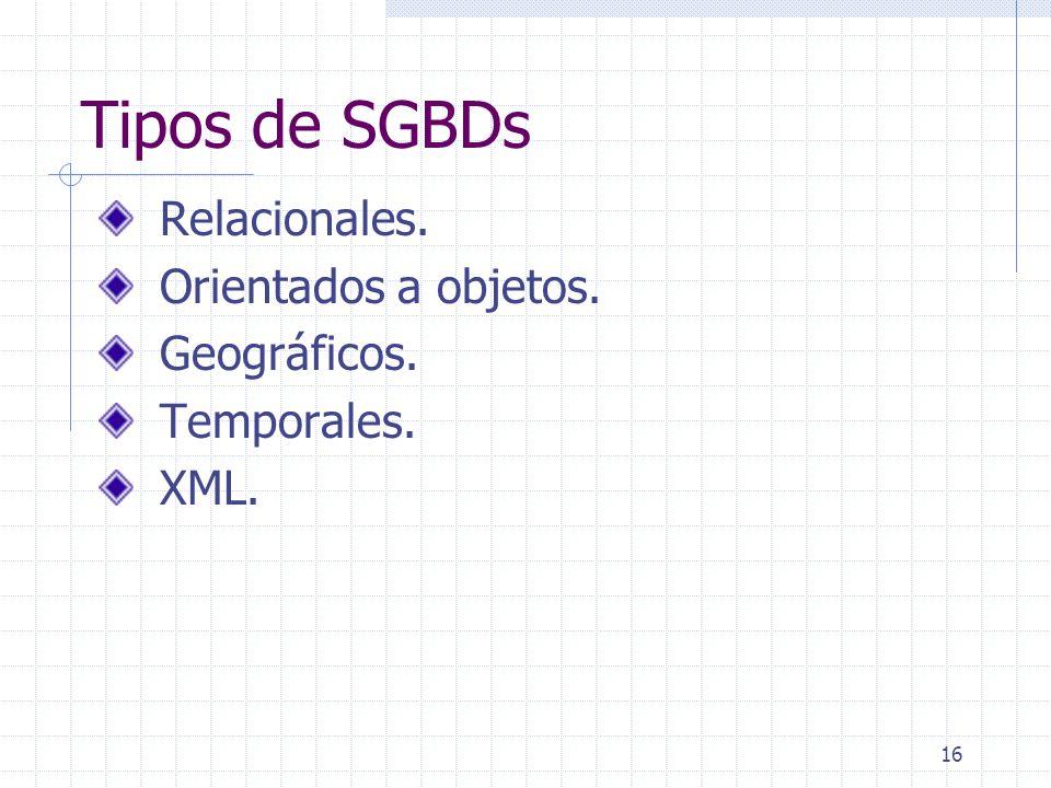 16 Tipos de SGBDs Relacionales. Orientados a objetos. Geográficos. Temporales. XML.