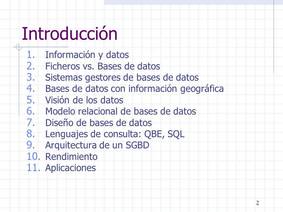 2 Introducción 1. Información y datos 2. Ficheros vs. Bases de datos 3. Sistemas gestores de bases de datos 4. Bases de datos con información geográfi