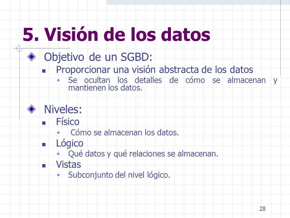 28 5. Visión de los datos Objetivo de un SGBD: Proporcionar una visión abstracta de los datos Se ocultan los detalles de cómo se almacenan y mantienen