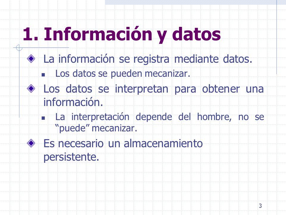 3 1. Información y datos La información se registra mediante datos. Los datos se pueden mecanizar. Los datos se interpretan para obtener una informaci