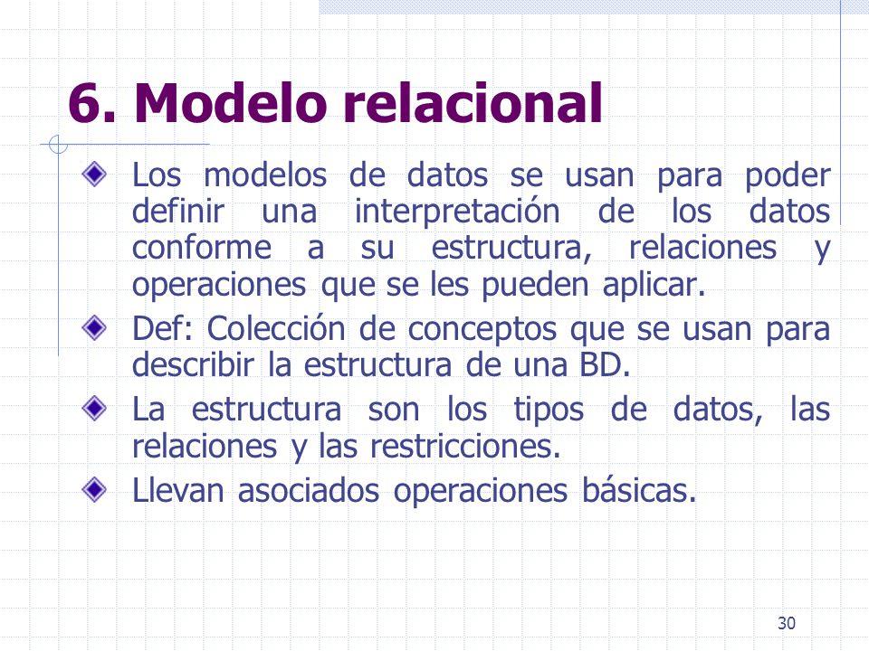 30 6. Modelo relacional Los modelos de datos se usan para poder definir una interpretación de los datos conforme a su estructura, relaciones y operaci