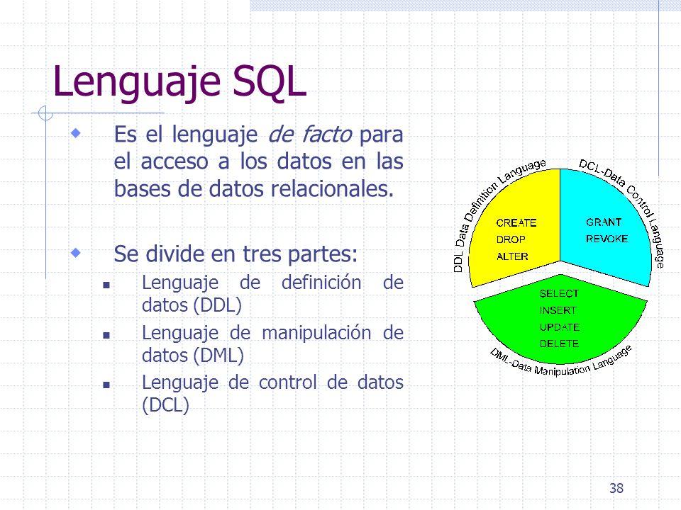 38 Lenguaje SQL Es el lenguaje de facto para el acceso a los datos en las bases de datos relacionales. Se divide en tres partes: Lenguaje de definició