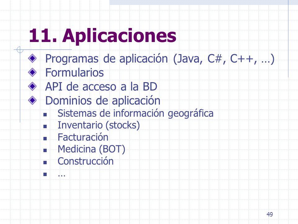 49 11. Aplicaciones Programas de aplicación (Java, C#, C++, …) Formularios API de acceso a la BD Dominios de aplicación Sistemas de información geográ
