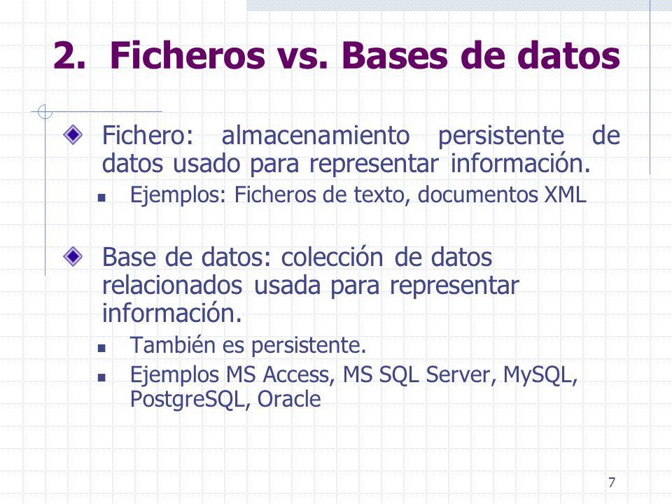 7 Fichero: almacenamiento persistente de datos usado para representar información. Ejemplos: Ficheros de texto, documentos XML Base de datos: colecció