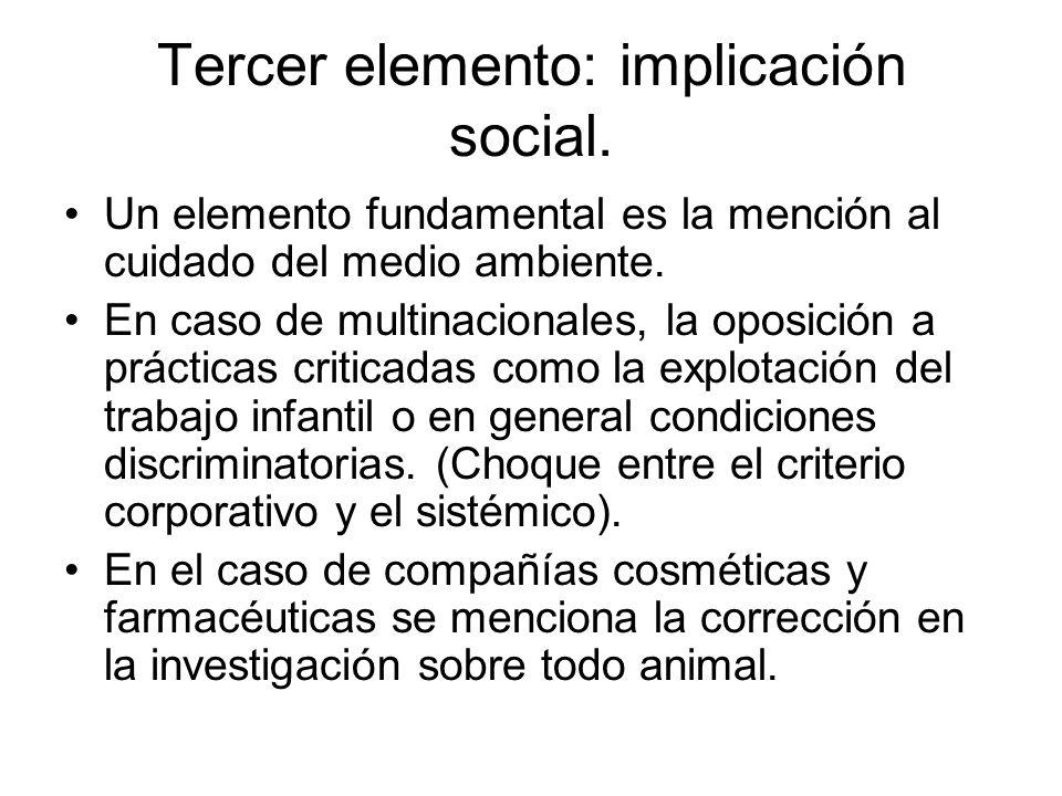 Tercer elemento: implicación social. Un elemento fundamental es la mención al cuidado del medio ambiente. En caso de multinacionales, la oposición a p