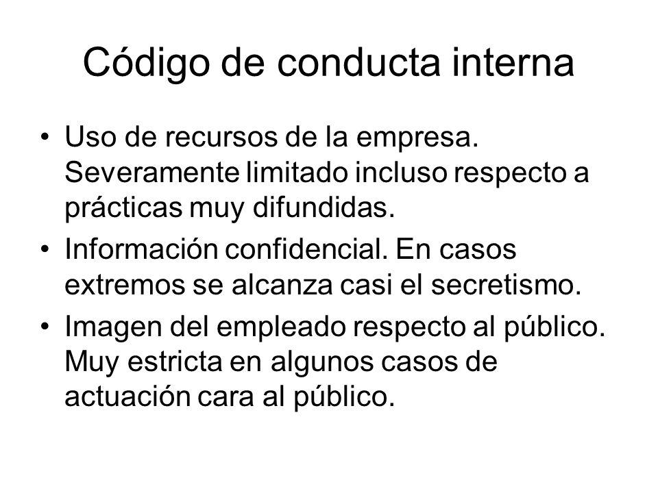 Código de conducta interna Uso de recursos de la empresa. Severamente limitado incluso respecto a prácticas muy difundidas. Información confidencial.