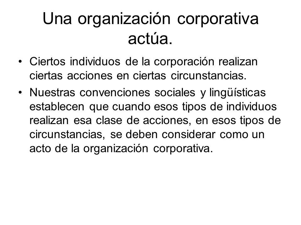 Una organización corporativa actúa. Ciertos individuos de la corporación realizan ciertas acciones en ciertas circunstancias. Nuestras convenciones so