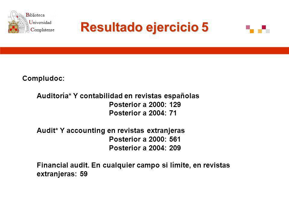 Resultado ejercicio 5 Compludoc: Auditoría* Y contabilidad en revistas españolas Posterior a 2000: 129 Posterior a 2004: 71 Audit* Y accounting en revistas extranjeras Posterior a 2000: 561 Posterior a 2004: 209 Financial audit.
