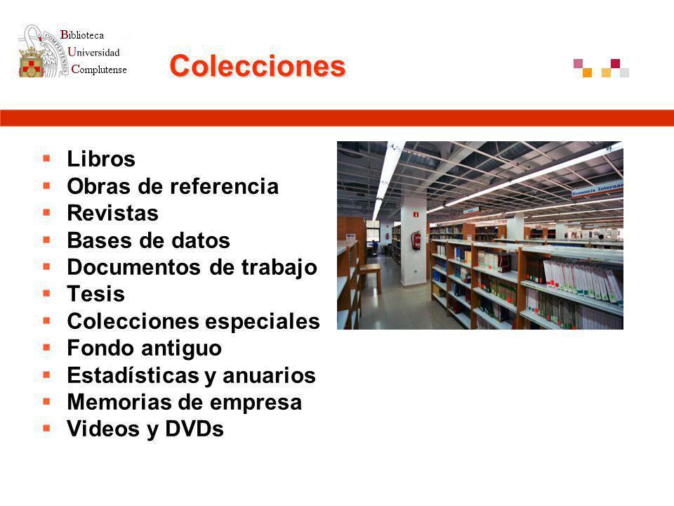Colecciones Libros Obras de referencia Revistas Bases de datos Documentos de trabajo Tesis Colecciones especiales Fondo antiguo Estadísticas y anuarios Memorias de empresa Videos y DVDs
