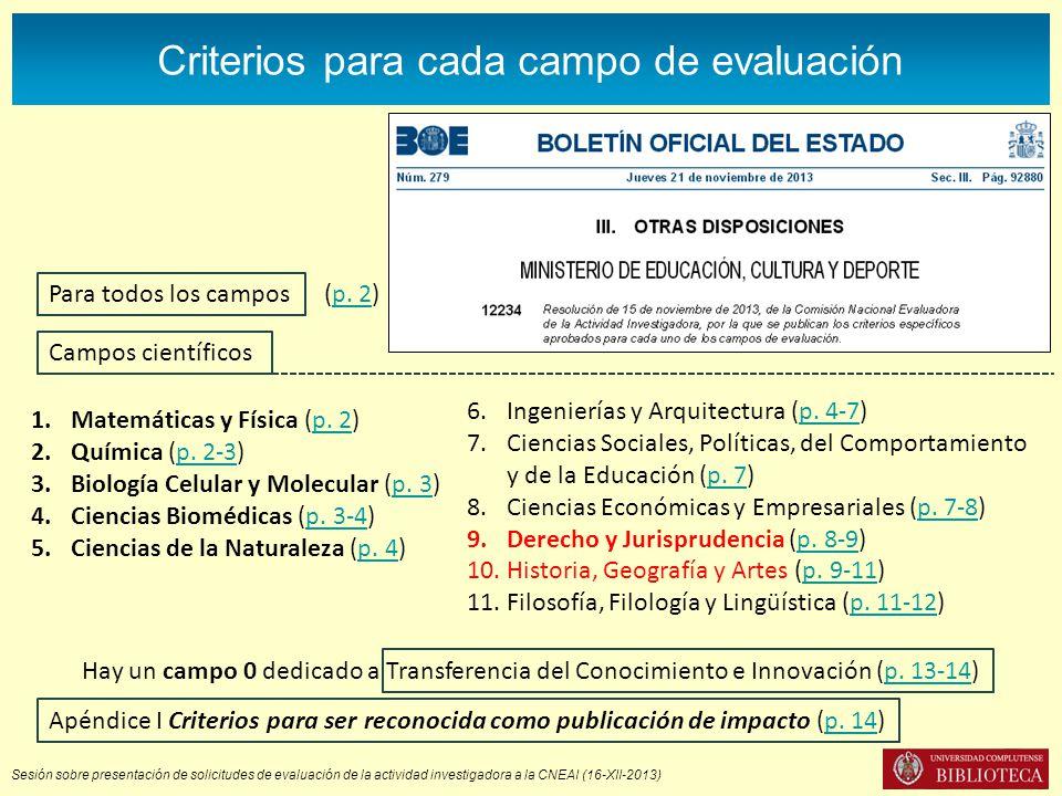 Sesión sobre presentación de solicitudes de evaluación de la actividad investigadora a la CNEAI (16-XII-2013) Criterios para cada campo de evaluación Campos científicos 1.Matemáticas y Física (p.