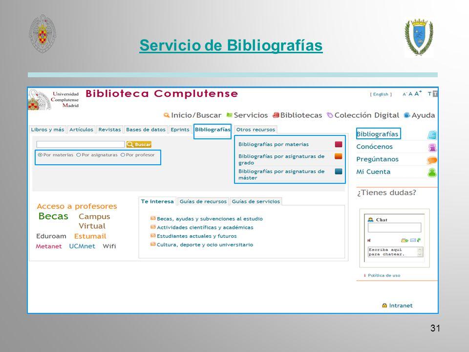 Servicio de Bibliografías 31