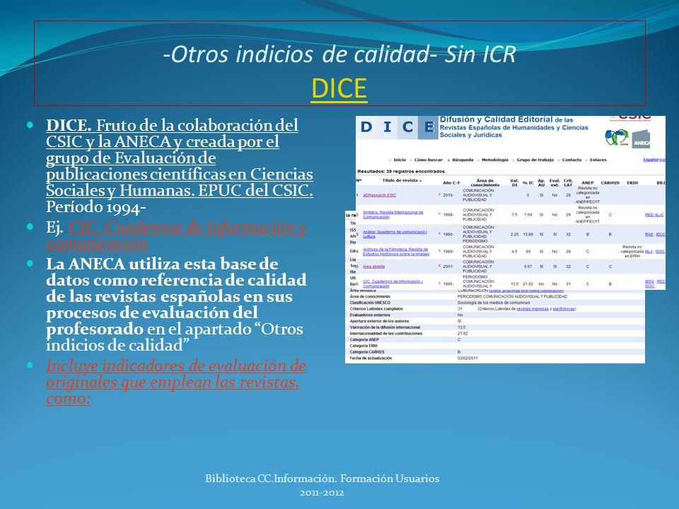 Dónde buscar la información Publicaciones sin ICR.