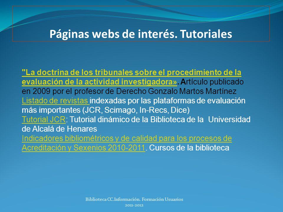 Páginas webs de interés Biblioteca CC.Información.