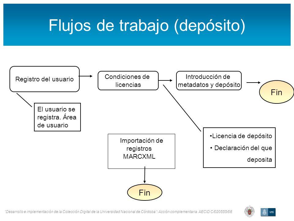 Desarrollo e implementación de la Colección Digital de la Universidad Nacional de Córdoba: Acción complementaria AECID C/020555/08 Flujos de trabajo (